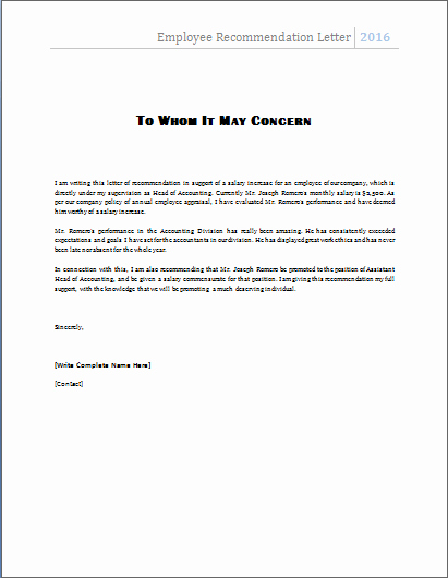 Letter Of Recommendation Employee Template Luxury the Employee Re Mendation Letter is Written by A Manager