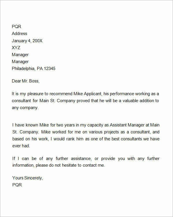Letter Of Recommendation Employee Template Unique Re Mendation Letter for Employment Promotion