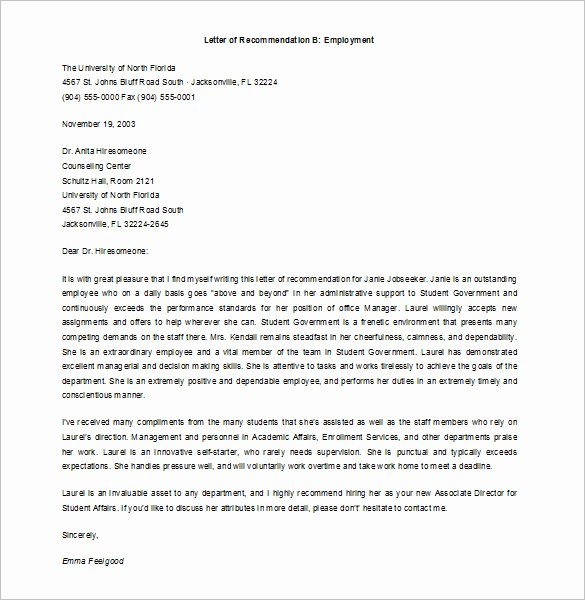 Letter Of Recommendation Employment Template Beautiful 6 Job Re Mendation Letters Free Sample Example