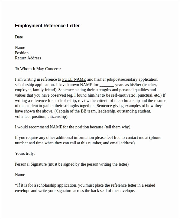 Letter Of Recommendation Employment Template Elegant 13 Employment Reference Letter Templates Free Sample