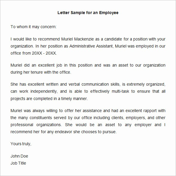 Letter Of Recommendation Employment Template Elegant 18 Employee Re Mendation Letters Pdf Doc