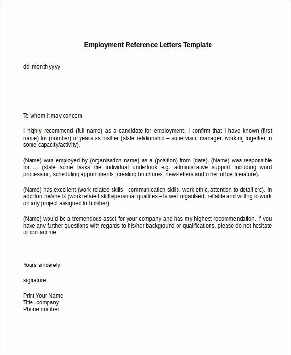 Letter Of Recommendation Employment Template New 13 Employment Reference Letter Templates Free Sample