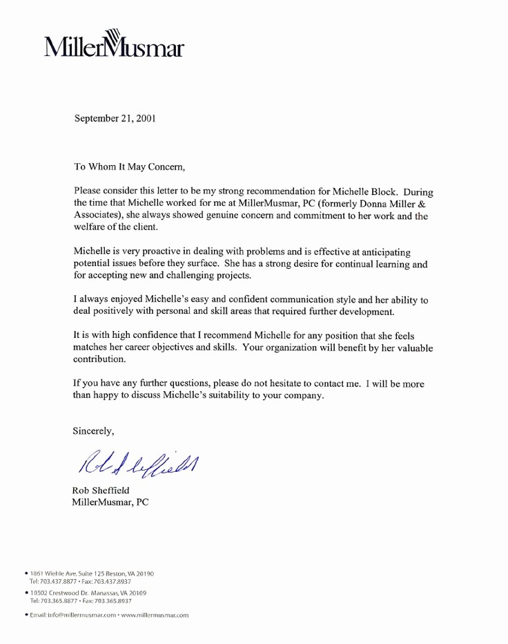 Letter Of Recommendation Employment Template New 15 Letter Of Re Mendation for Employee