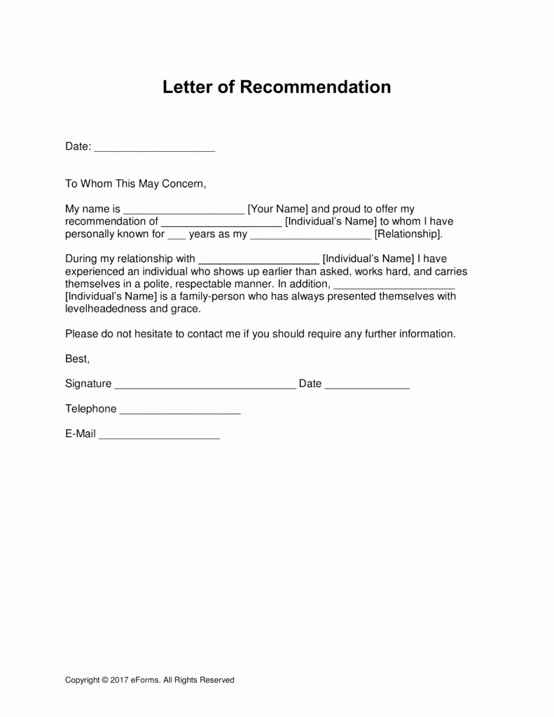 Letter Of Recommendation Employment Template New Professional Letter Re Mendation Template Free
