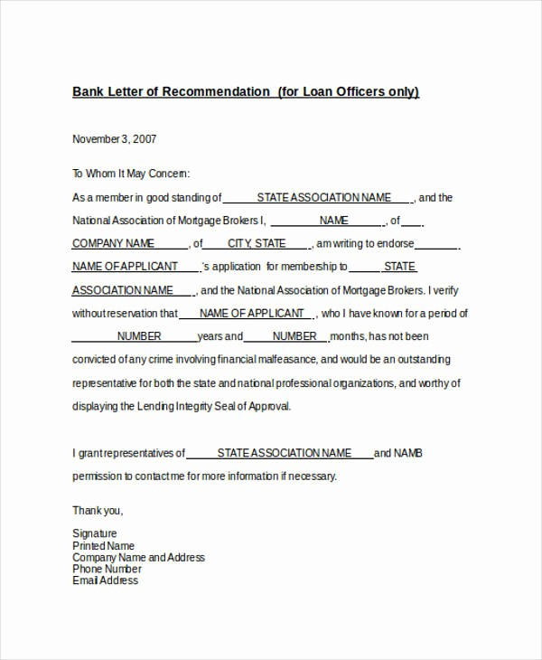Letter Of Recommendation for Loan Awesome 82 Re Mendation Letter Examples & Samples Doc Pdf