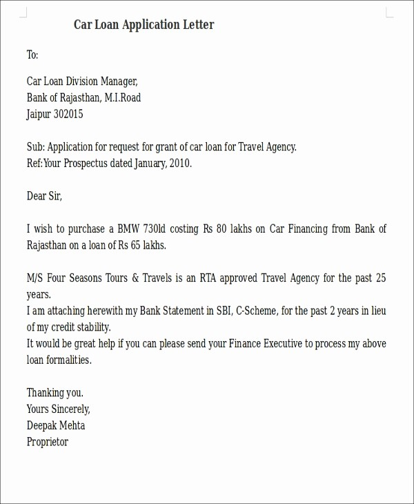 Letter Of Recommendation for Loan Inspirational 17 Sample Loan Application Letters Pdf Doc