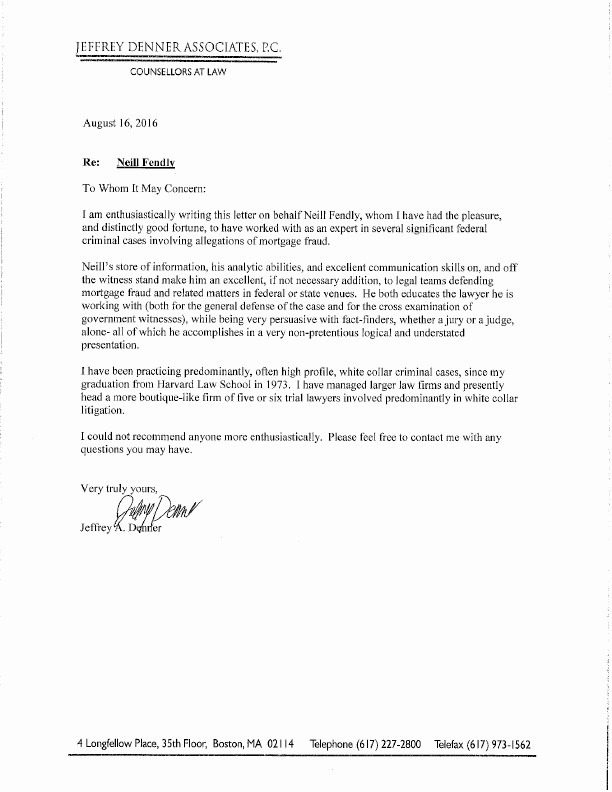 Letter Of Recommendation for Loan Luxury attorneys Re Mend Neill Fendly Of Mortgage Defense