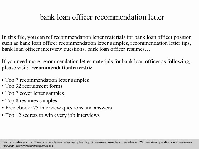Letter Of Recommendation for Loan New Bank Loan Officer Re Mendation Letter