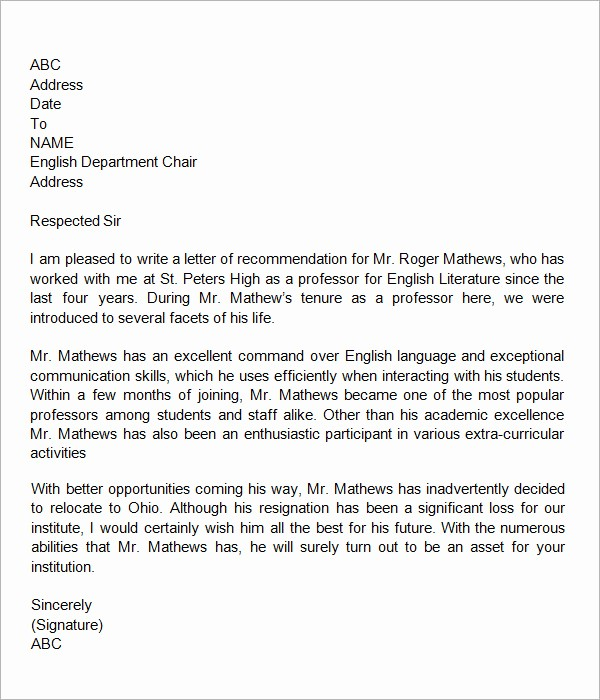Letter Of Recommendation From Coworker Inspirational 18 Letter Of Re Mendation for Teacher Samples – Pdf