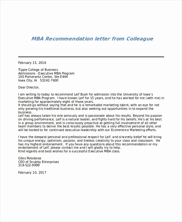 Letter Of Recommendation From Coworker Lovely 6 Sample Mba Re Mendation Letters – Pdf Word