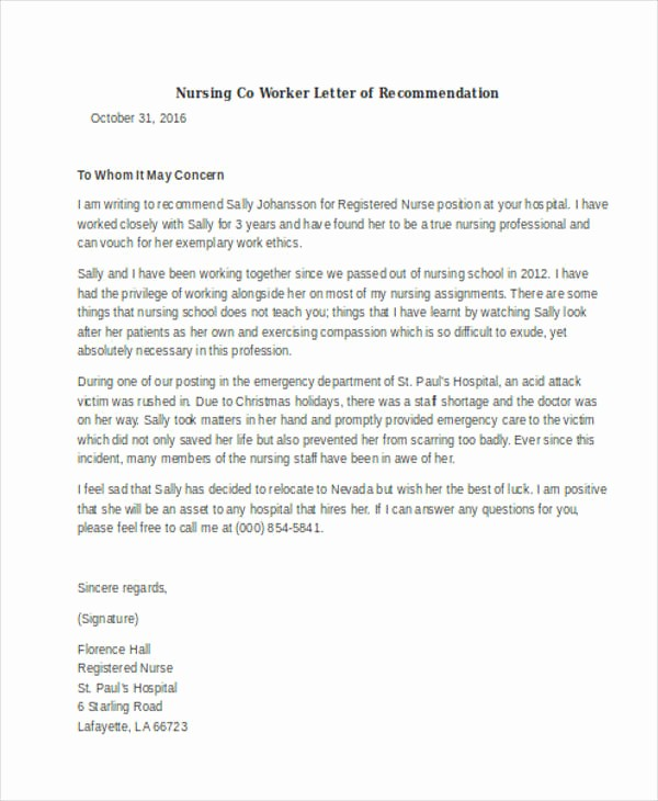 Letter Of Recommendation From Coworker New 45 Free Re Mendation Letter Templates
