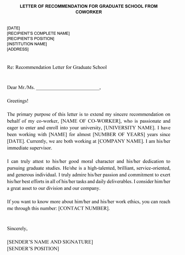 Letter Of Recommendation From Coworker New Letter Of Re Mendation for Co Worker 18 Sample Letters