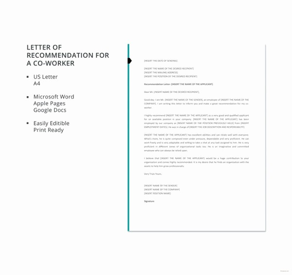 Letter Of Recommendation From Coworker Unique Coworker Re Mendation Letter 10 Free Word Pdf