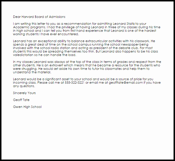 Letter Of Recommendation Letter Example Awesome Academic Re Mendation Letter Example