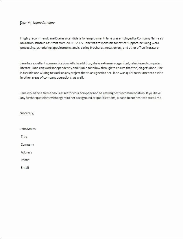 Letter Of Recommendation Letter Example Elegant Letter Of Re Mendation Samples