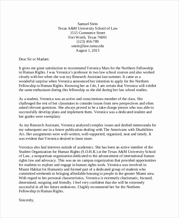 Letter Of Recommendation Letter Example Fresh 8 Sample Student Re Mendation Letters