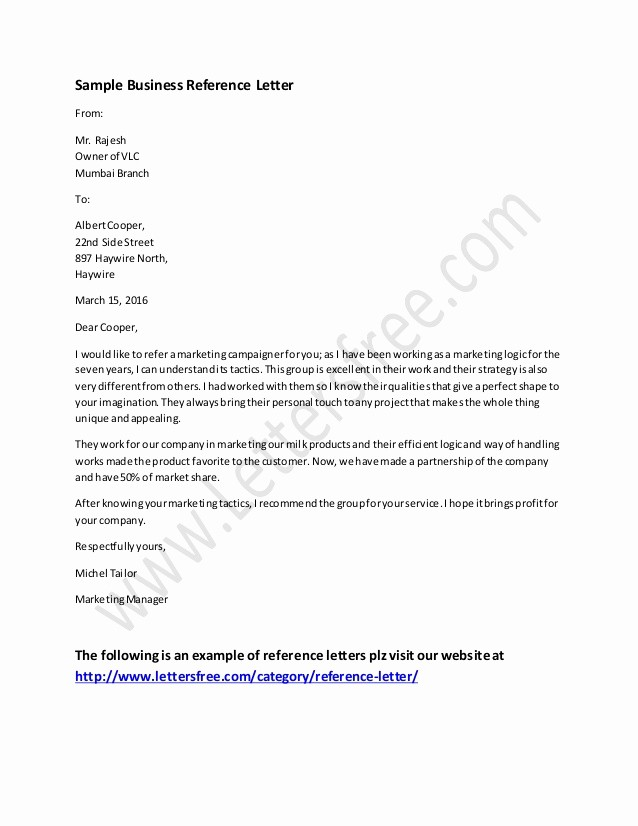 Letter Of Recommendation Letter Example Lovely Business Reference Letter Example