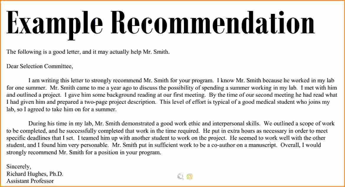 Letter Of Recommendation Letter Example New 11 Good Letter Of Re Mendation Example