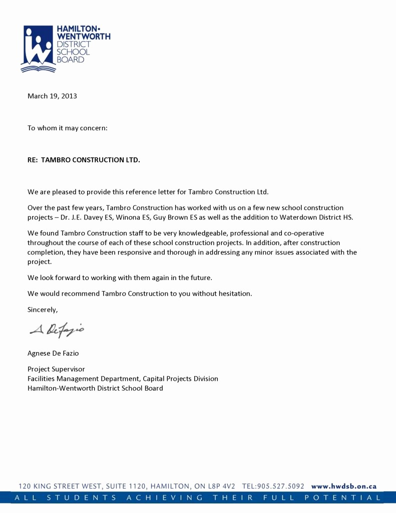 Letter Of Recommendation Letter Example New Reference Letters