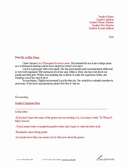 Letter Of Recommendation Letter Example Unique Letter Of Reference Example