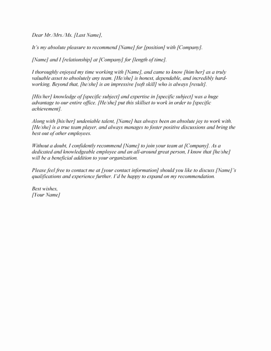 Letter Of Recommendation Letter Template Beautiful 43 Free Letter Of Re Mendation Templates & Samples