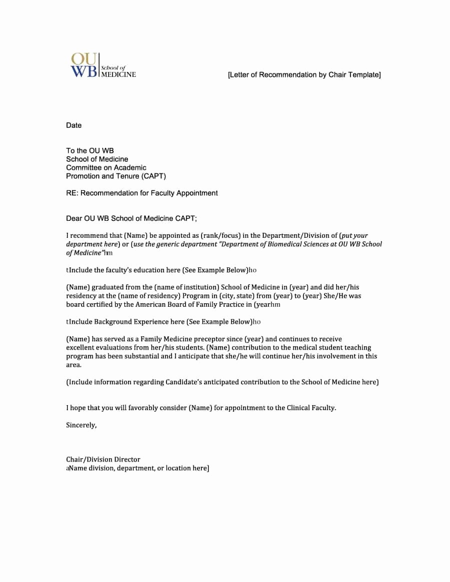 Letter Of Recommendation Letter Template Best Of 43 Free Letter Of Re Mendation Templates & Samples