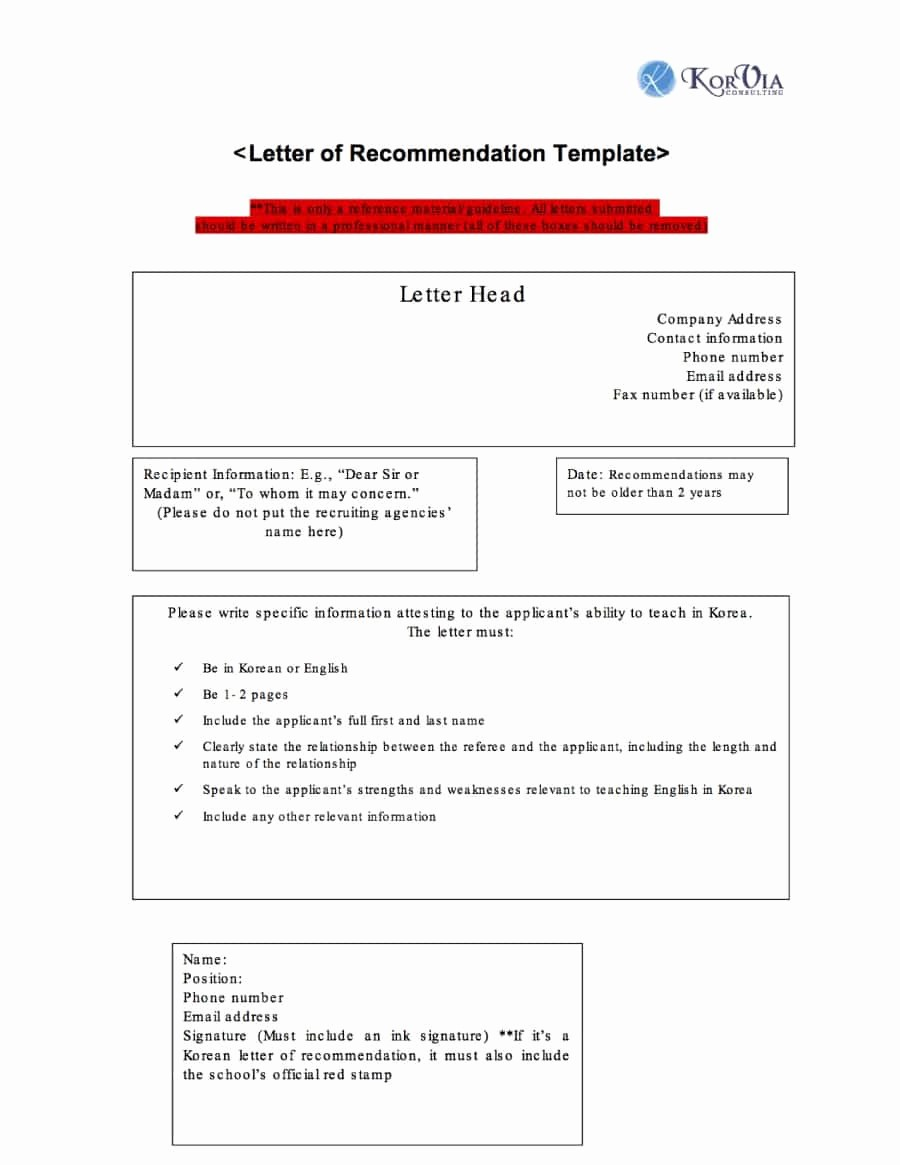Letter Of Recommendation Letter Template Elegant 43 Free Letter Of Re Mendation Templates & Samples