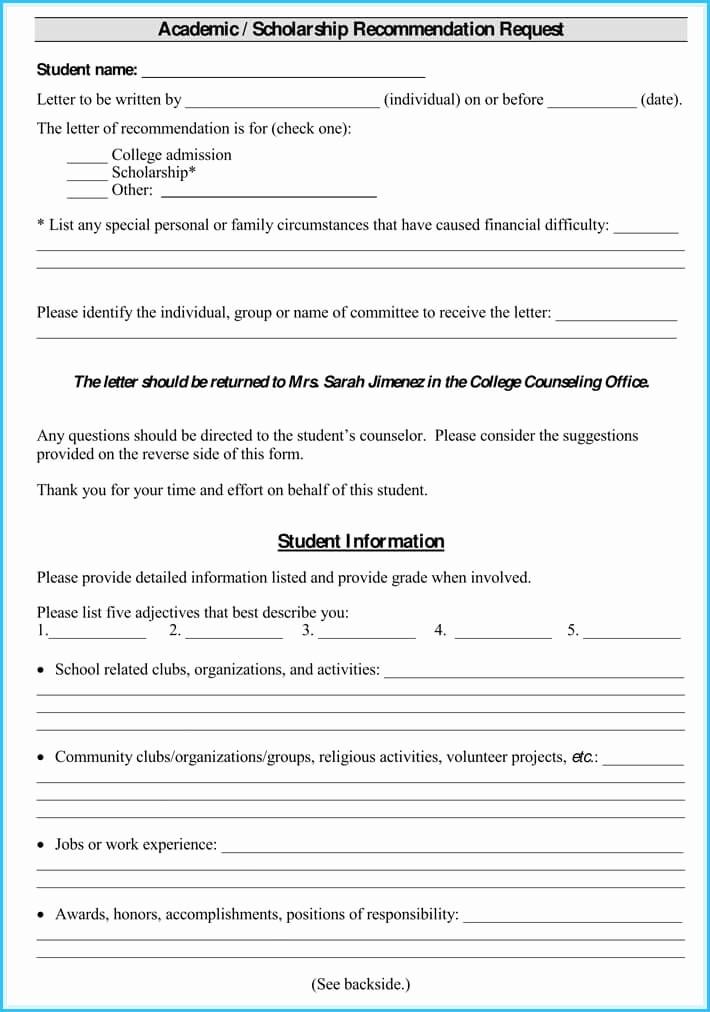 Letter Of Recommendation Letter Template Elegant Scholarship Reference Re Mendation Letters 7 Sample