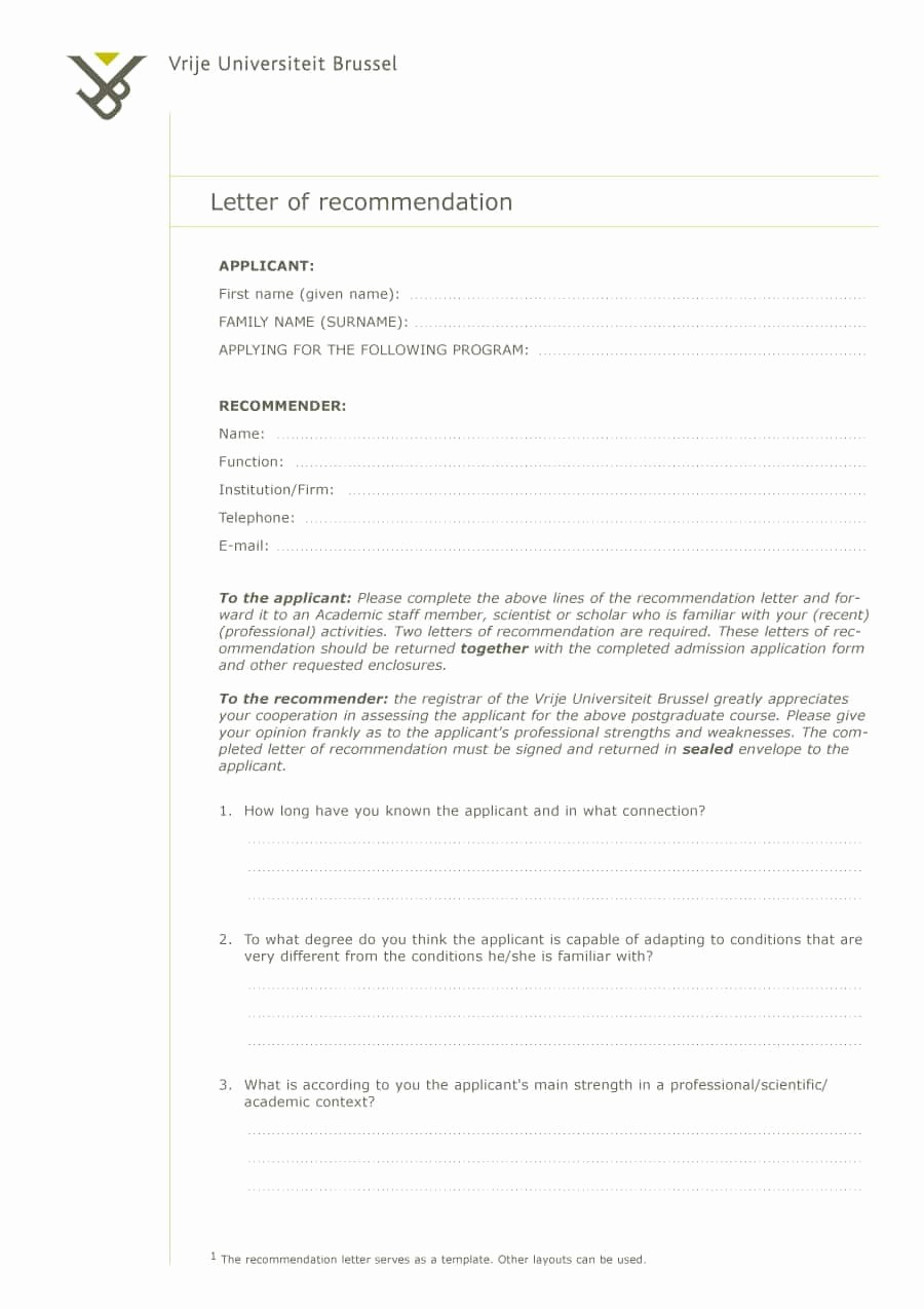 Letter Of Recommendation Letter Template Fresh 43 Free Letter Of Re Mendation Templates & Samples