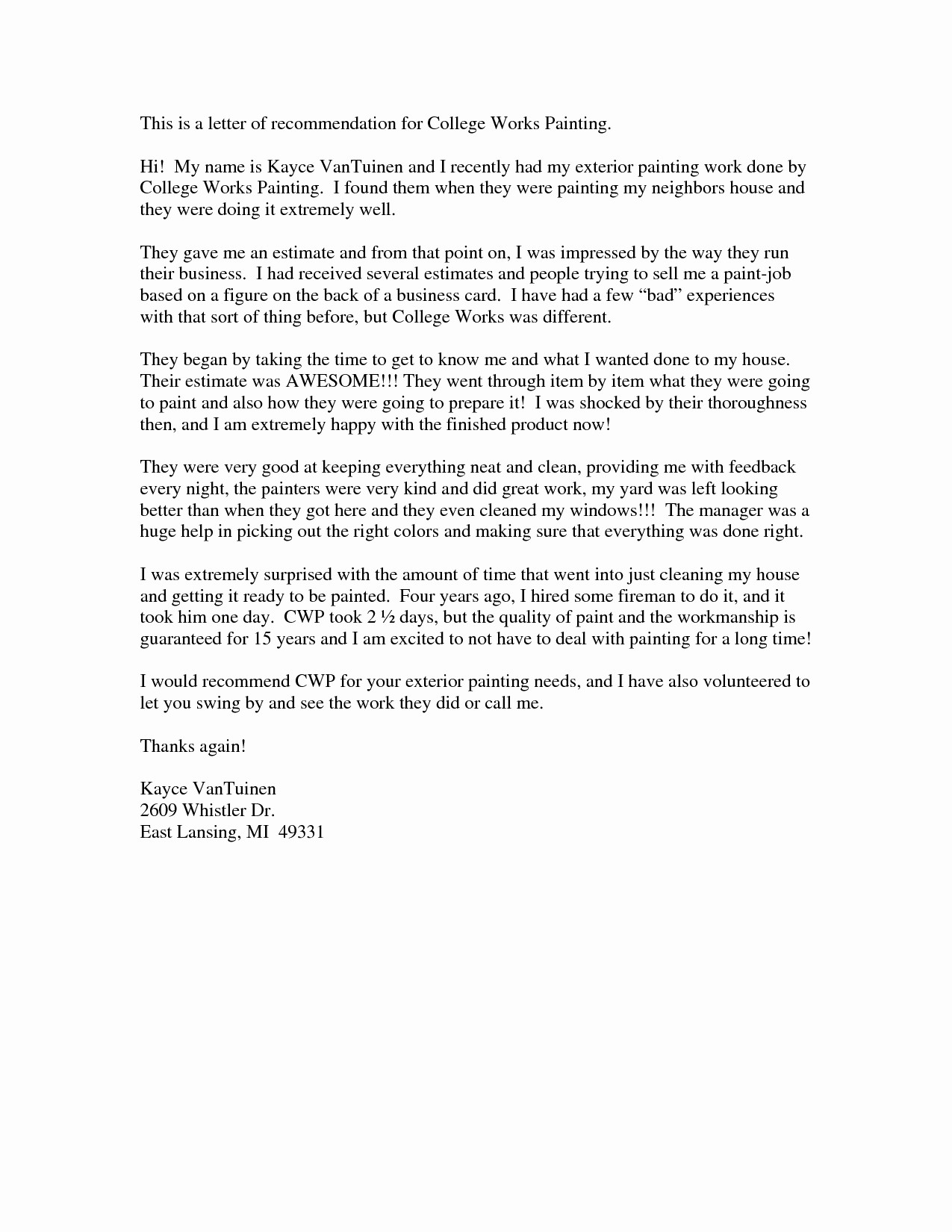 Letter Of Recommendation Letter Template Lovely Letter Re Mendation for College Admission Template