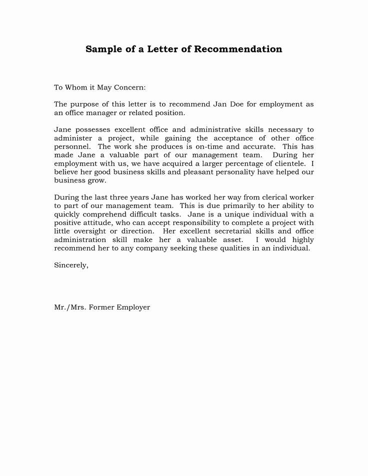 Letter Of Recommendation Letter Template Lovely Reference Letter Of Re Mendation Sample