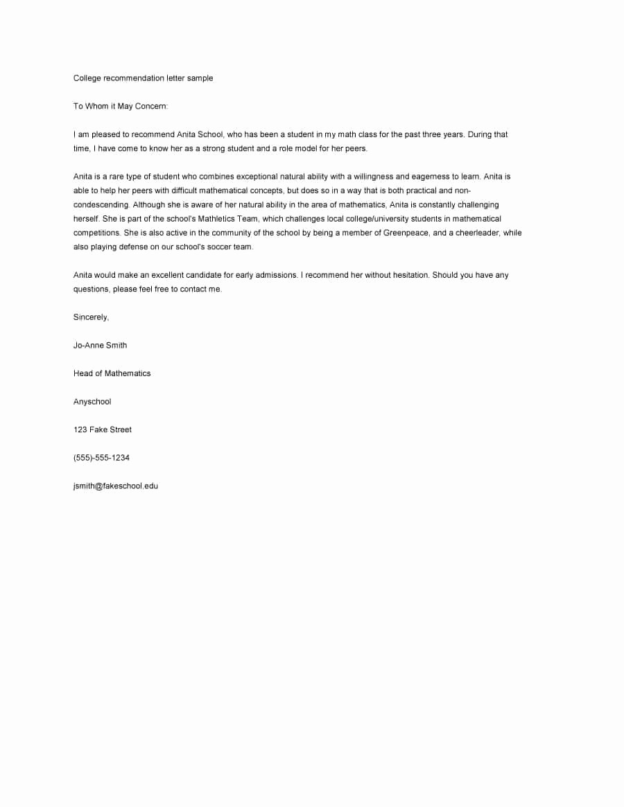 Letter Of Recommendation Letter Template New 43 Free Letter Of Re Mendation Templates & Samples