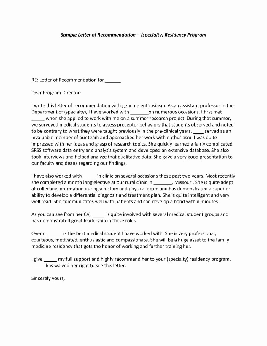 Letter Of Recommendation Sample Template Fresh 43 Free Letter Of Re Mendation Templates & Samples