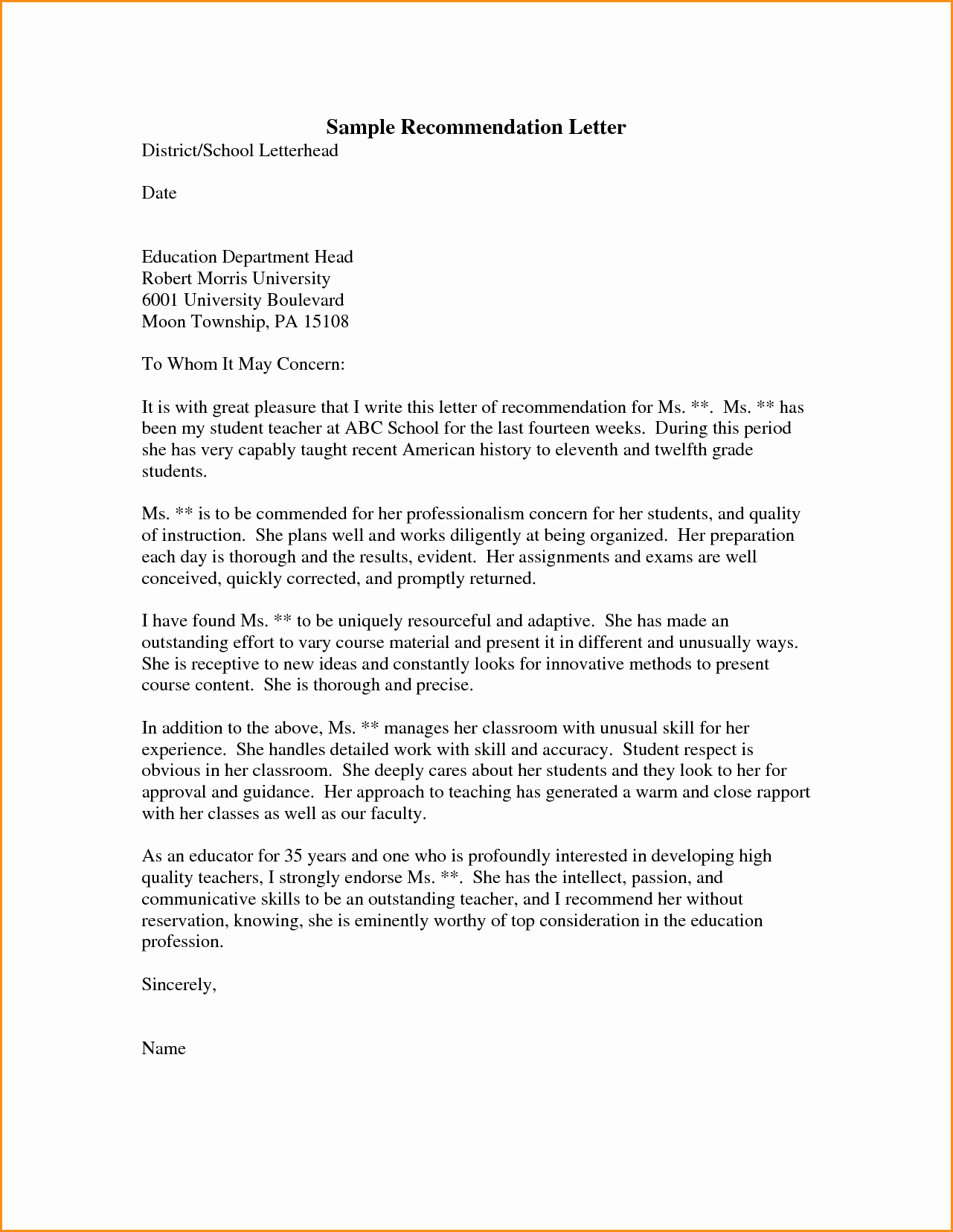 Letter Of Recommendation Sample Template Inspirational 6 Graduate Re Mendation Letter Samples