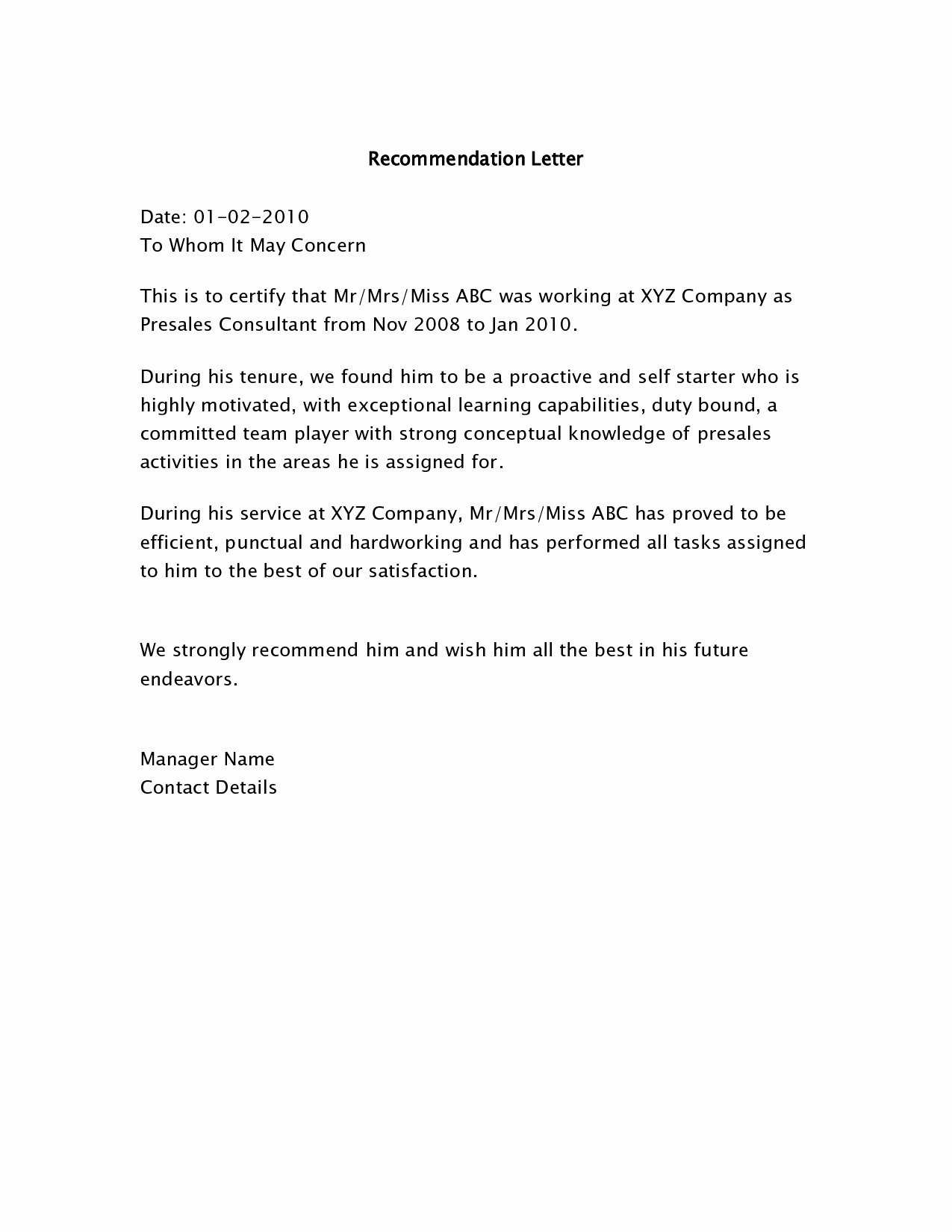 Letter Of Recommendation Sample Template Lovely Letters Of Re Mendation Samples Bing