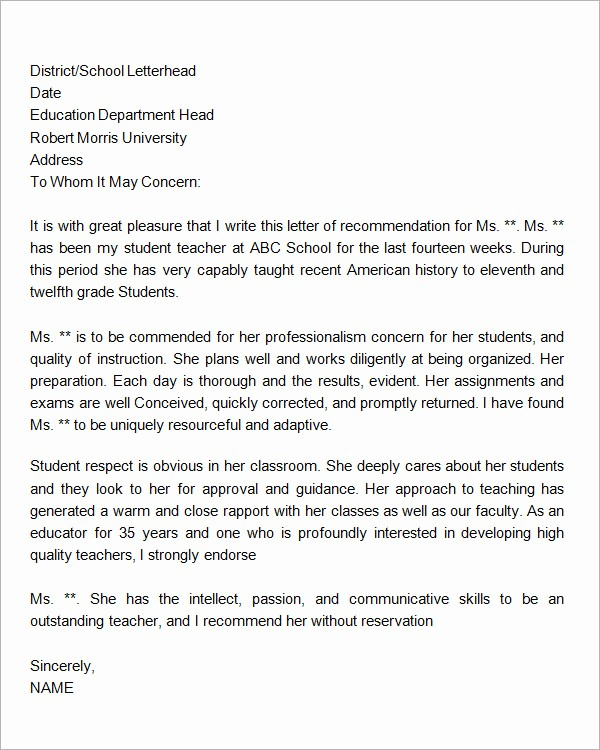 Letter Of Recommendation Template Student Awesome 18 Letter Of Re Mendation for Teacher Samples – Pdf
