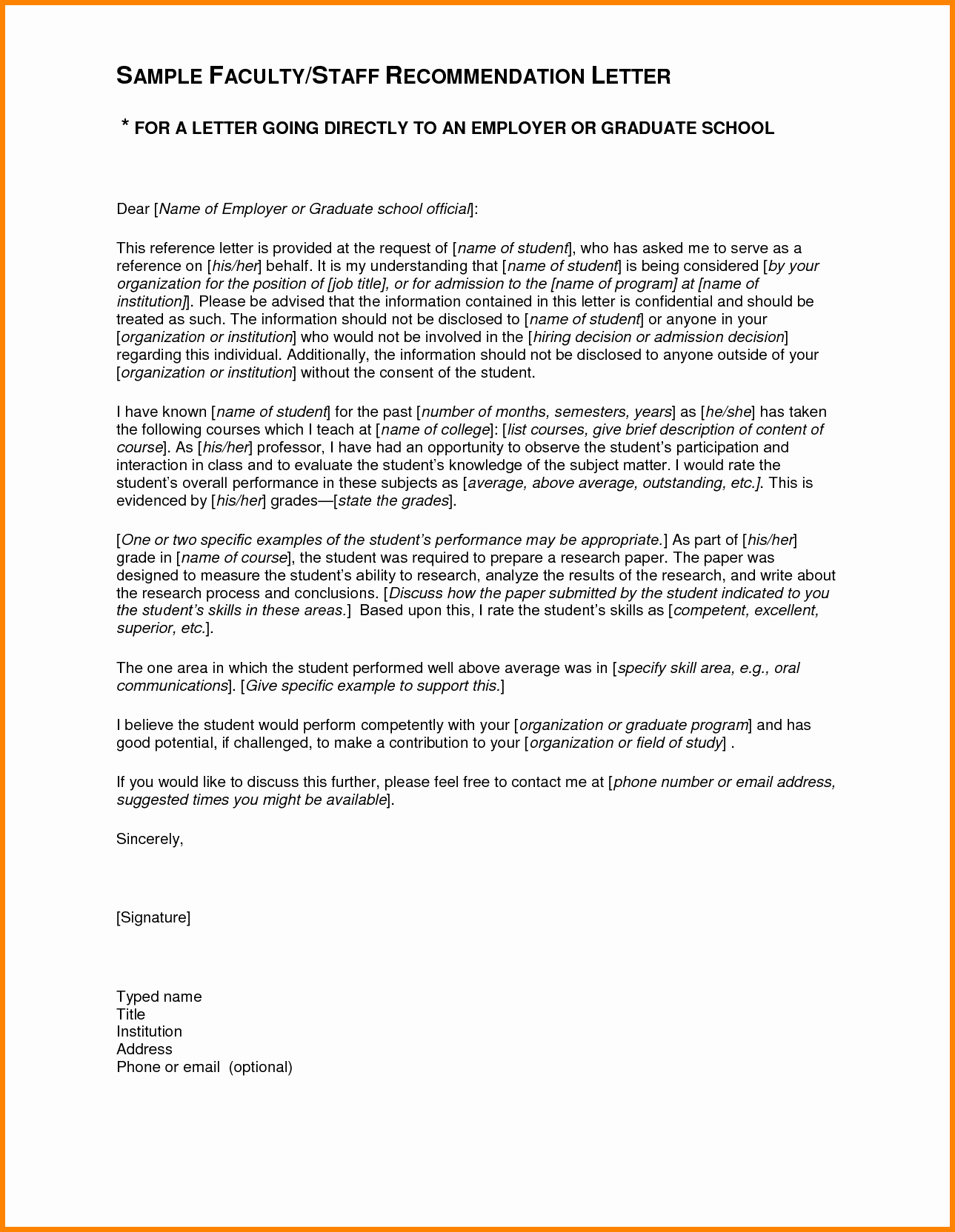 Letter Of Recommendation Template Student Awesome 4 Re Mendation Letter Sample for Student