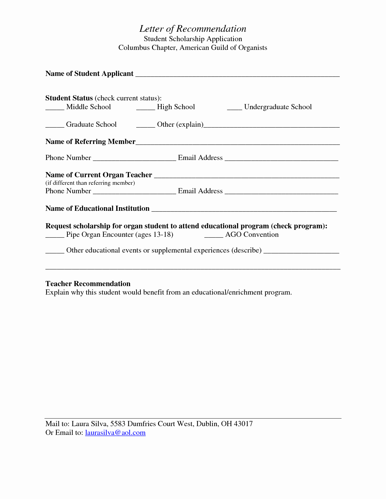 Letter Of Recommendation Template Student Awesome Best S Of Student Re Mendation form Template