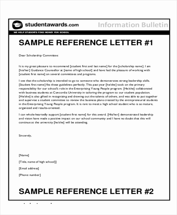 Letter Of Recommendation Template Student Beautiful 7 Sample Reference Letter for Students