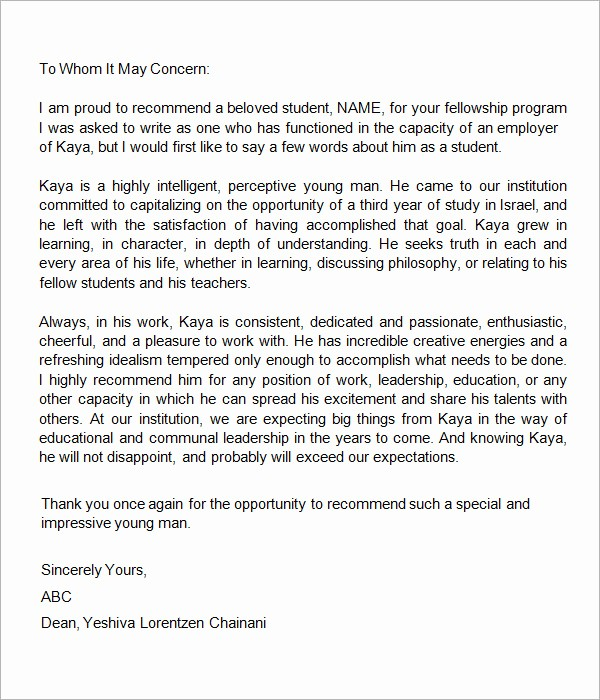 Letter Of Recommendation Template Student Best Of 7 Letters Re Mendation for Student