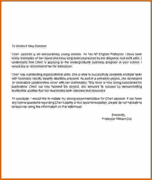 Letter Of Recommendation Template Student Best Of 8 Sample Re Mendation Letter for Student