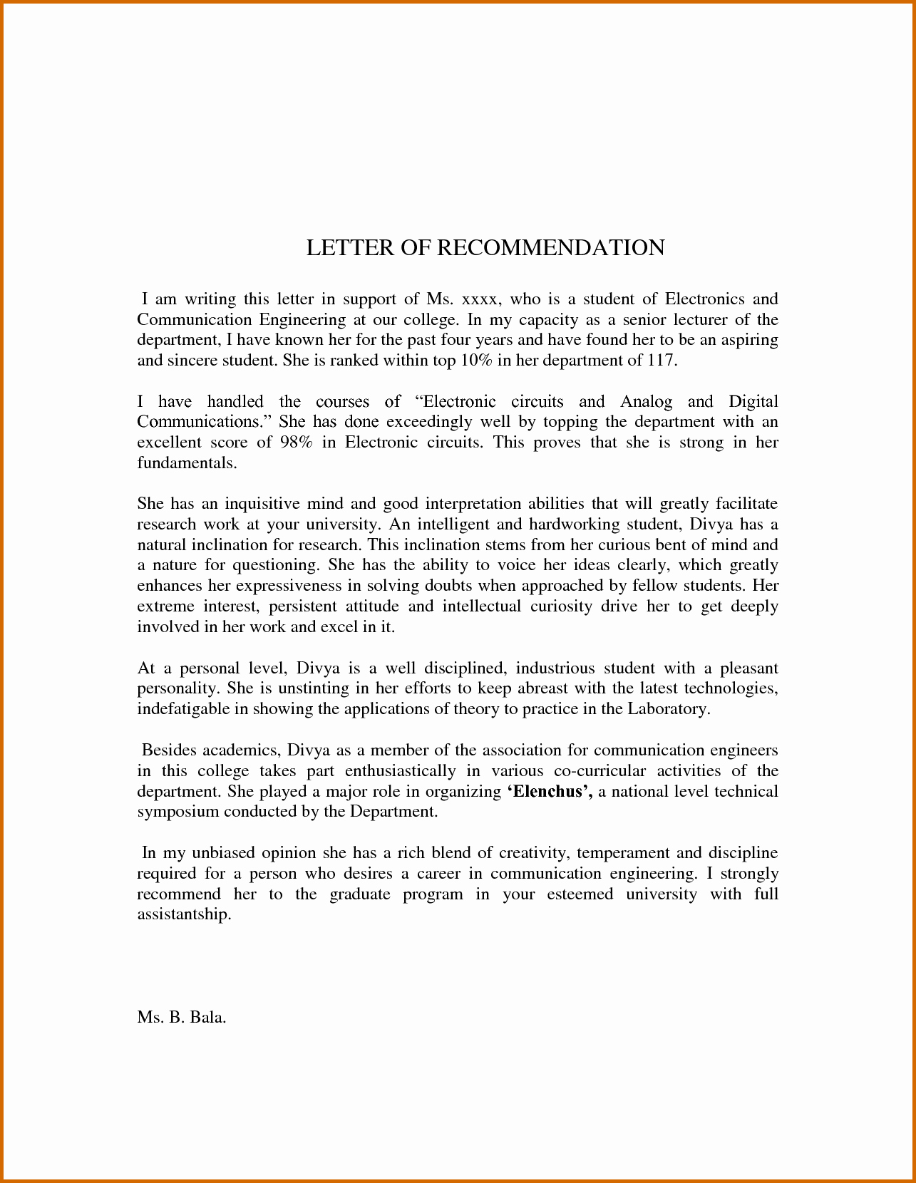 Letter Of Recommendation Template Student Elegant 8 Sample Re Mendation Letter for Student