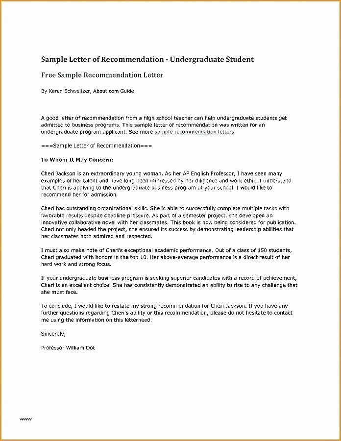 Letter Of Recommendation Template Student Elegant High School Student Letter Re Mendation Template for