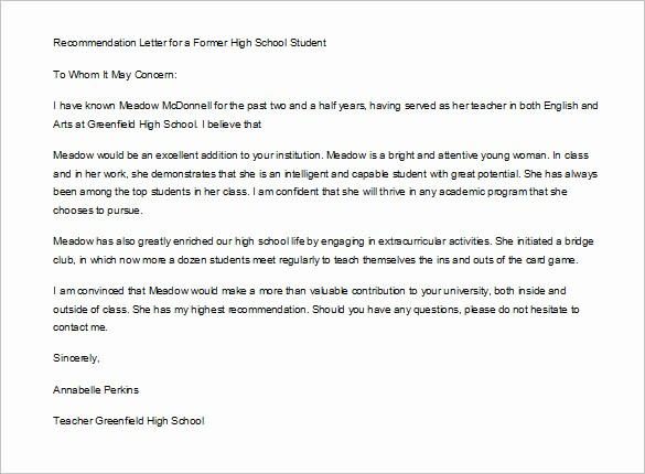 Letter Of Recommendation Template Student Fresh 12 Letter Of Re Mendation for Student Templates Pdf