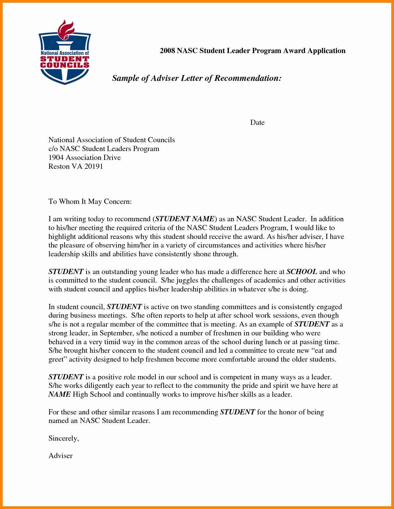 Letter Of Recommendation Template Student Lovely 5 Re Mendation Letter Sample for Student Scholarship