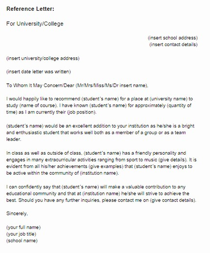 Letter Of Recommendation Template Student Lovely Reference Letter for A Student Sample