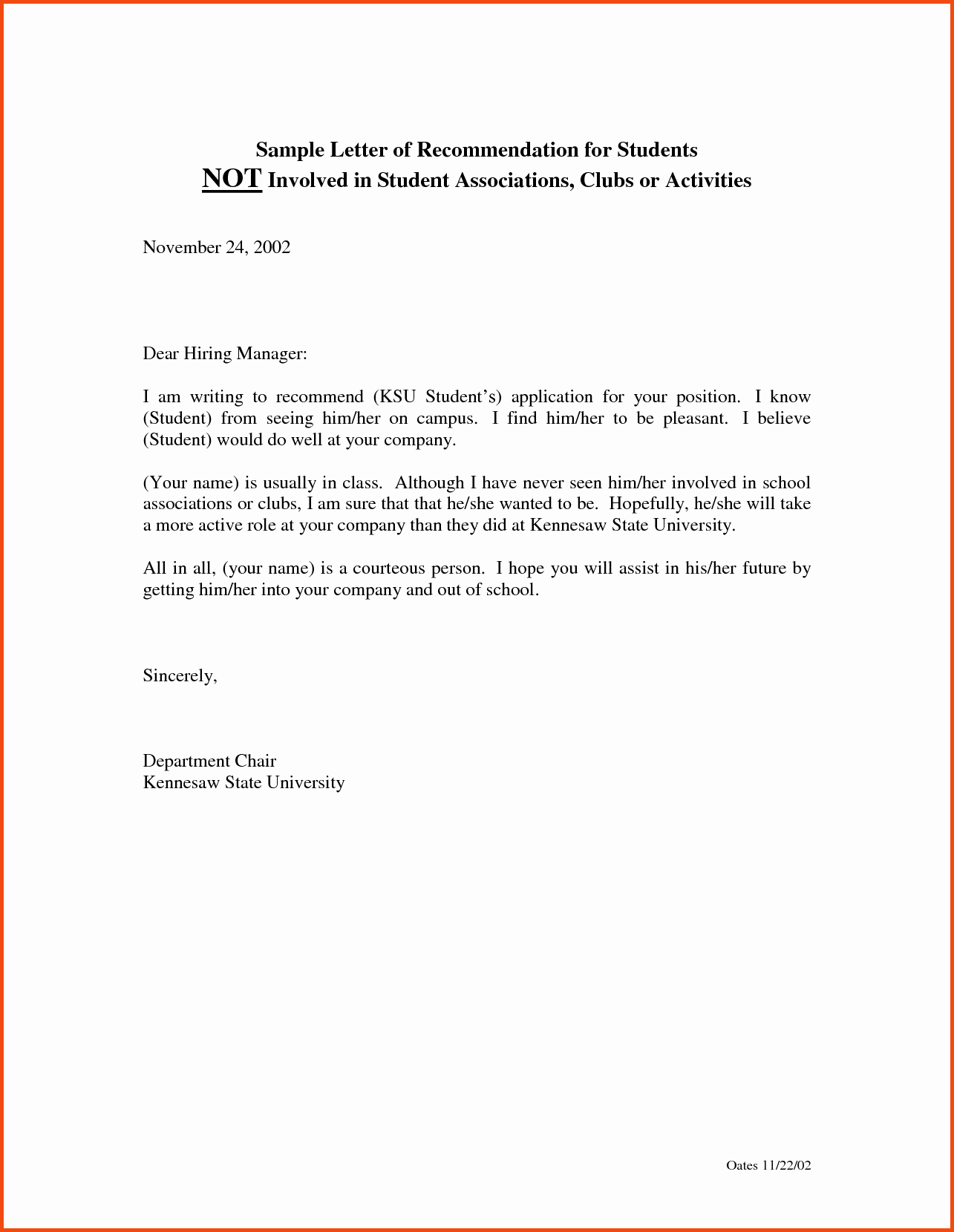 Letter Of Recommendation Template Student Lovely Sample Job Re Mendation Letter for Student