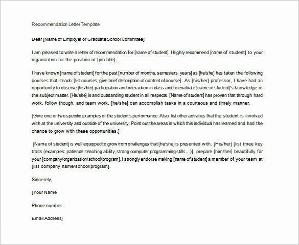 Letter Of Recommendation Template Student New 28 Letters Of Re Mendation for Teacher Pdf Doc
