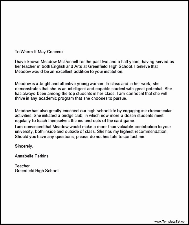 Letter Of Recommendation Template Student New Re Mendation Letter for Student Going to College