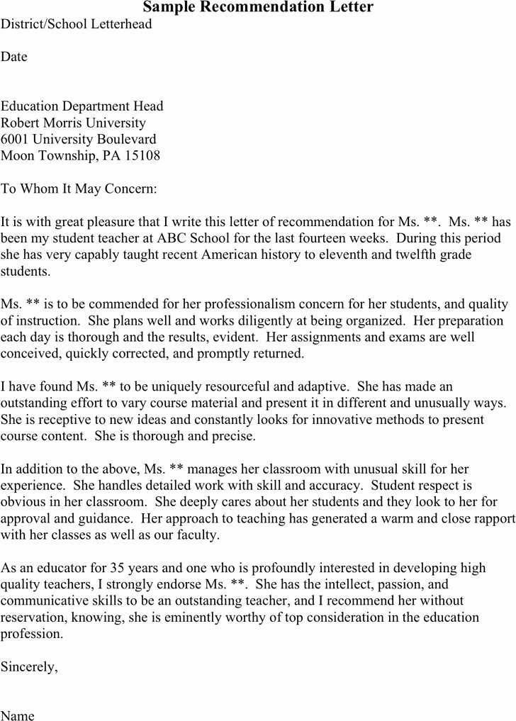 Letter Of Recommendation Template Student New Sample Re Mendation Letter for Student